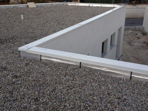 Réalisation d'une terrasse neuve système bicouche sous gravillons avec isolation thermique